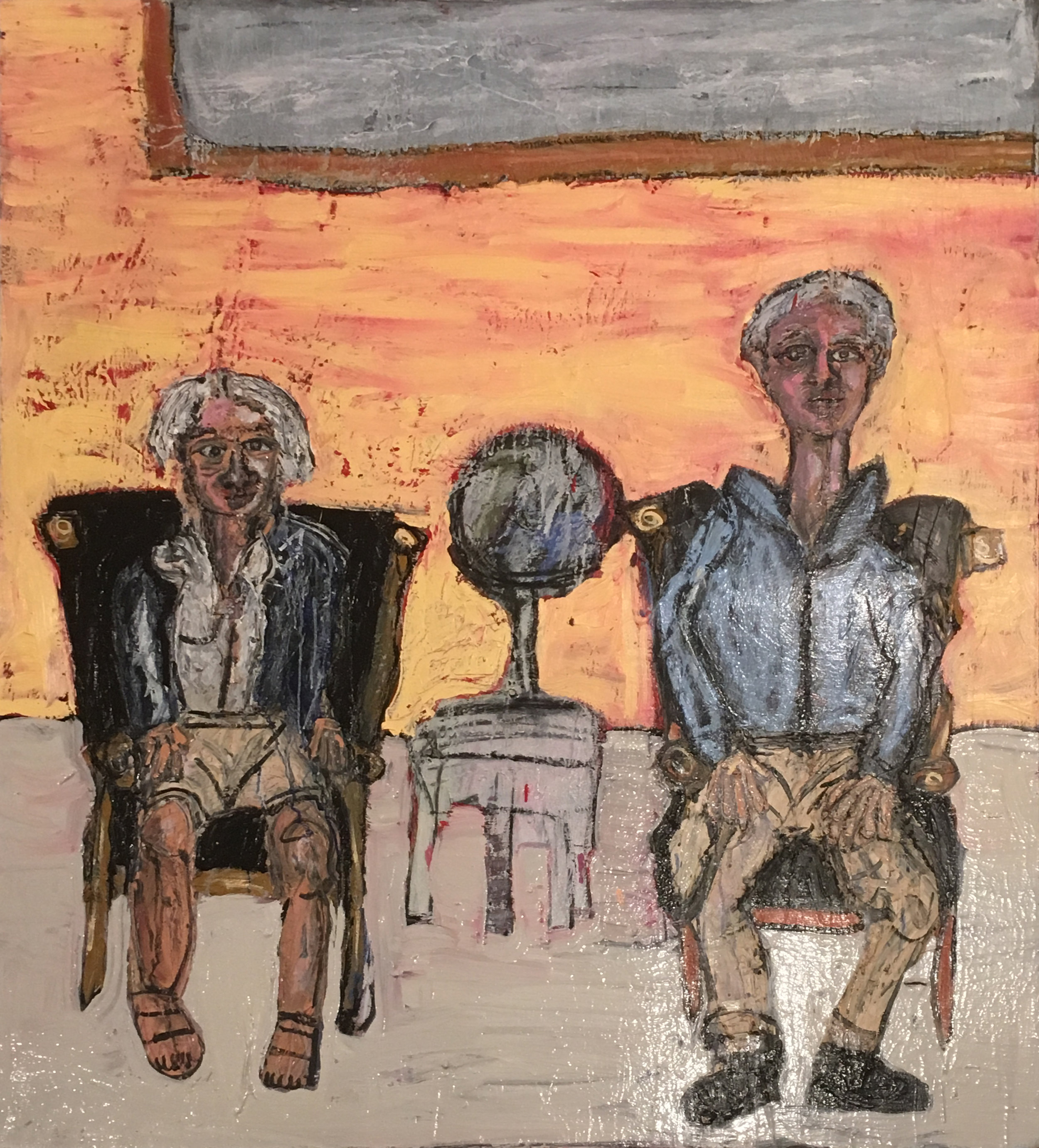 """Painters, Janvier and Gustaf Miller, Sitting in My Leather Chairs - Oil on canvas48"""" x 60""""2017"""