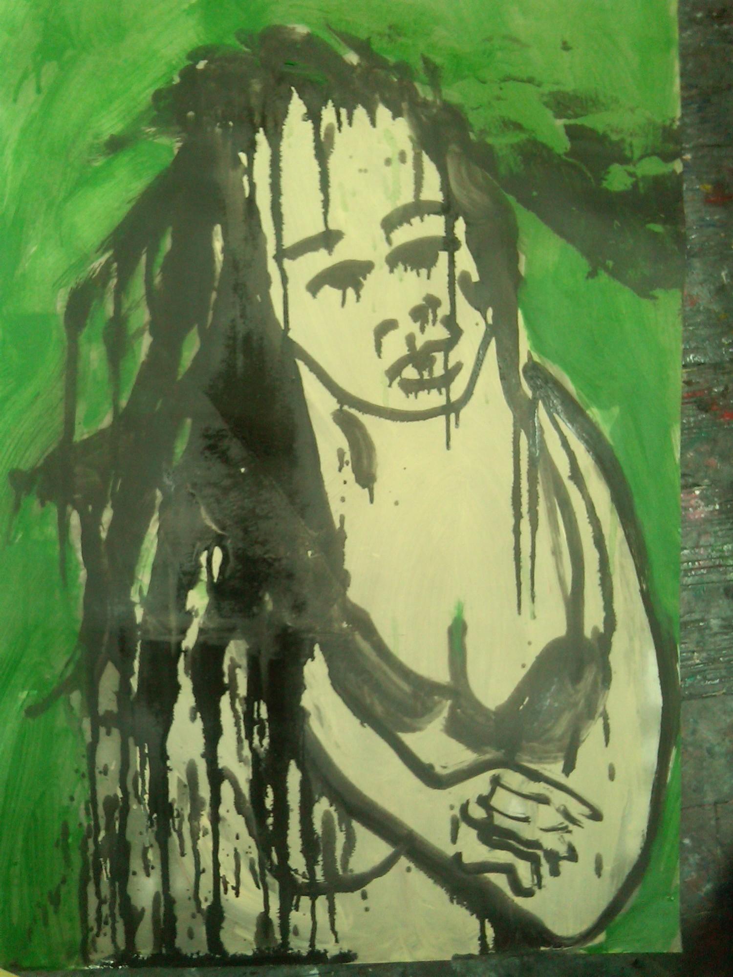 Nokko in Bra - oil/charcoal on paper 36