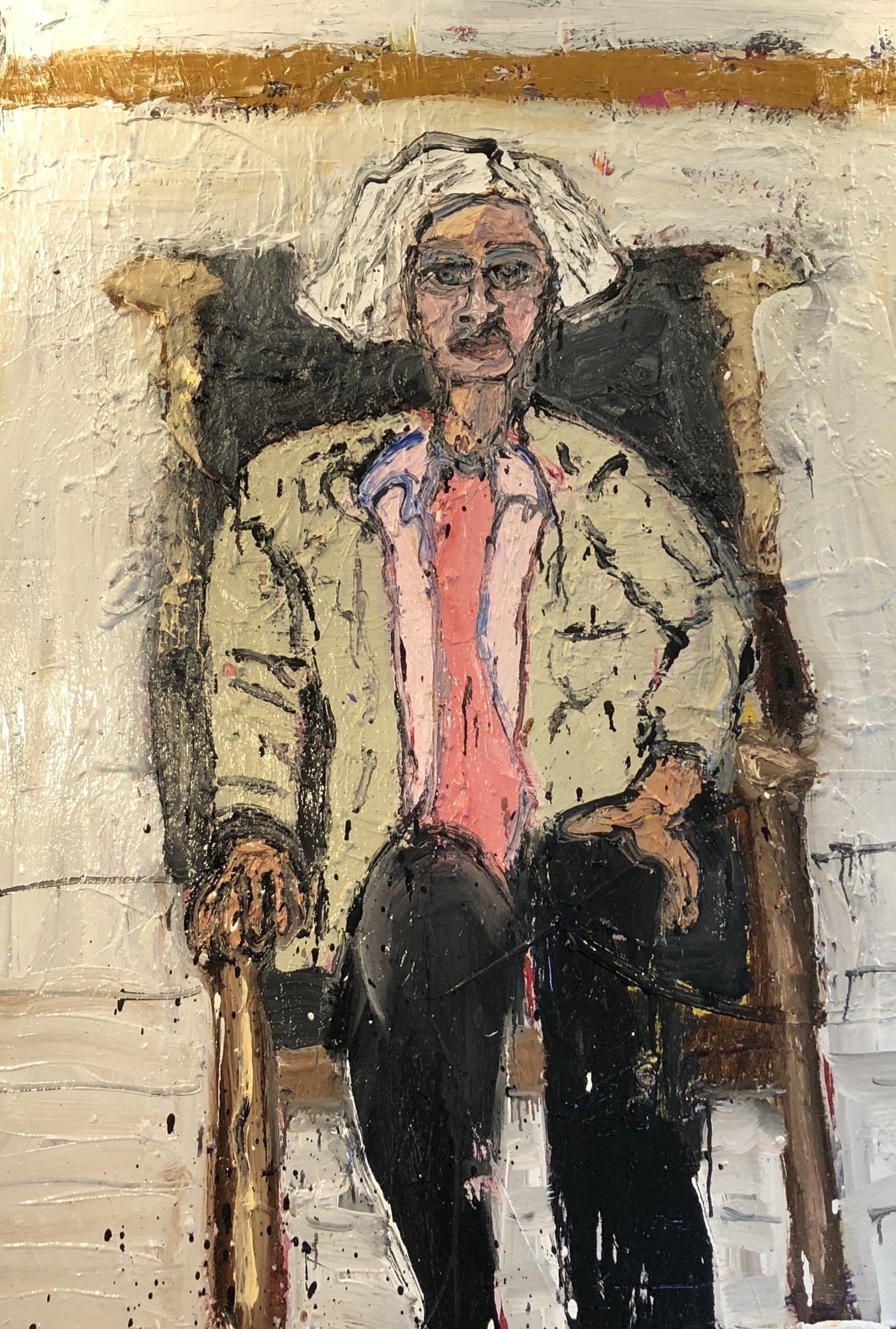 """Educator and Painter, Marija Mccarthy Sitting in My Leather Chair - Oil on canvas60"""" x 48""""2018"""