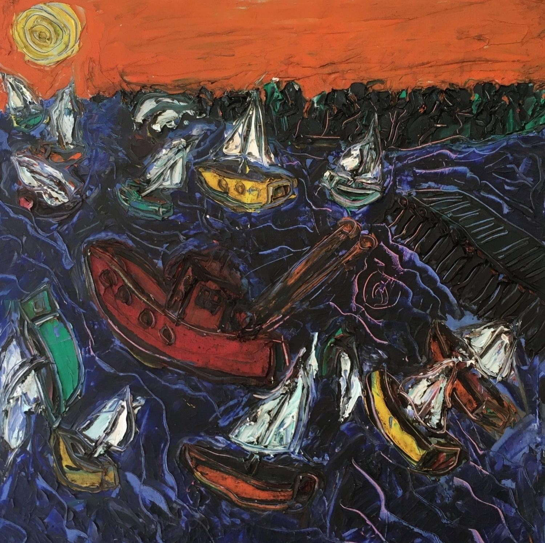 Stonington Harbor - oil on canvas 36' x 36