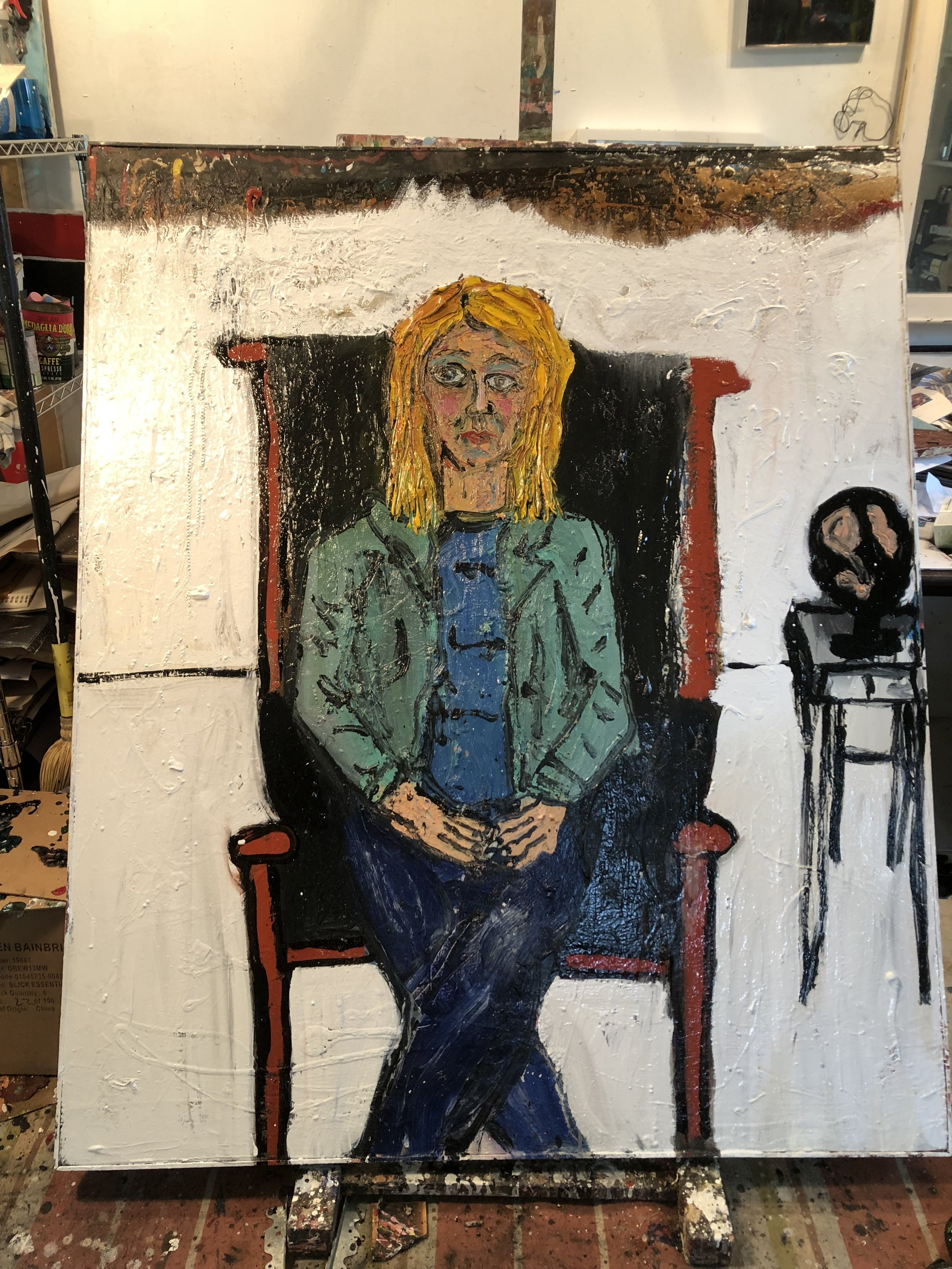 """Painter, Sky Hoyt, Sitting in My Leather Chair - Oil on canvas60"""" x 48""""2018"""