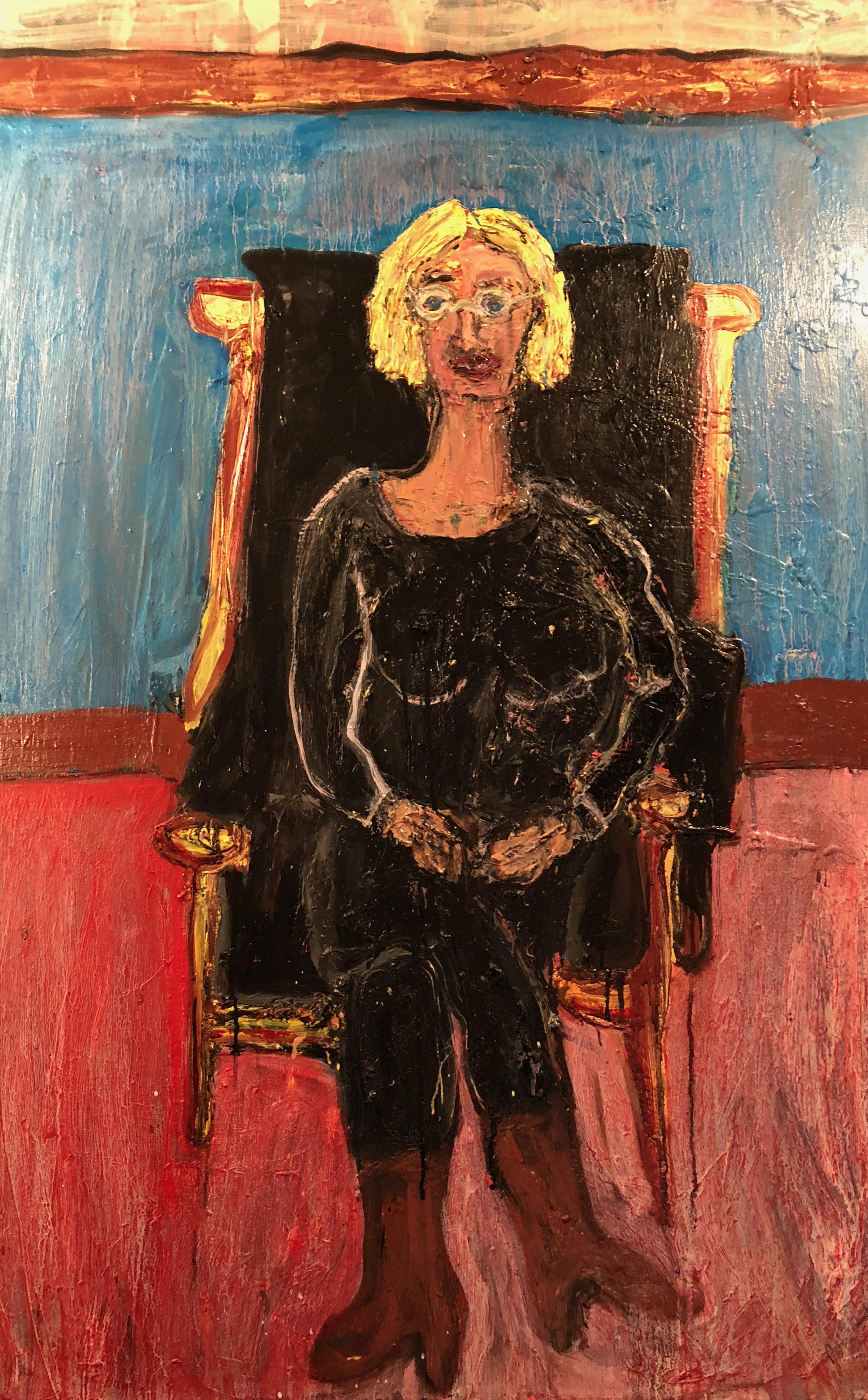 """Singer Songwriter, Bergen O'Malley, Sitting in My Leather Chair - Oil on canvas60"""" x 48""""2018"""
