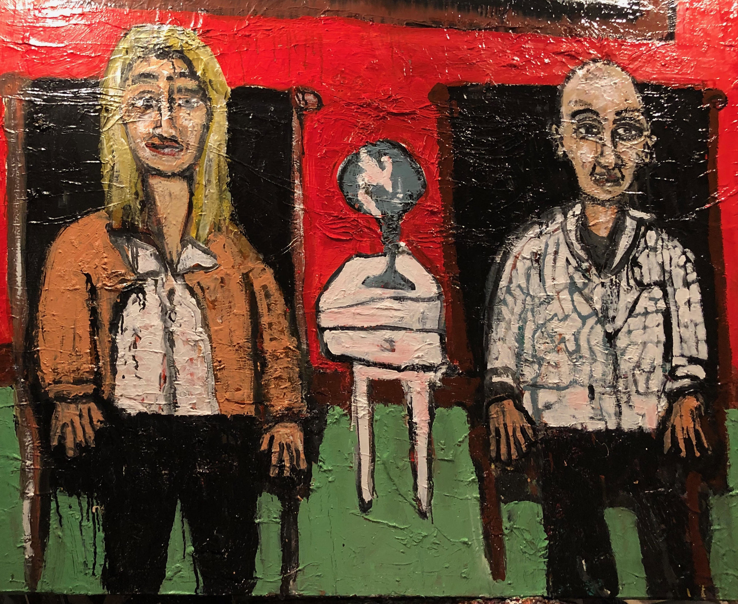 """Painter and Educator, Eric Lindberg, and Web Guru and Graphic Designer, Thomas Mitchell, Sitting in My Leather chairs - oil on canvas48"""" x 60""""2019"""