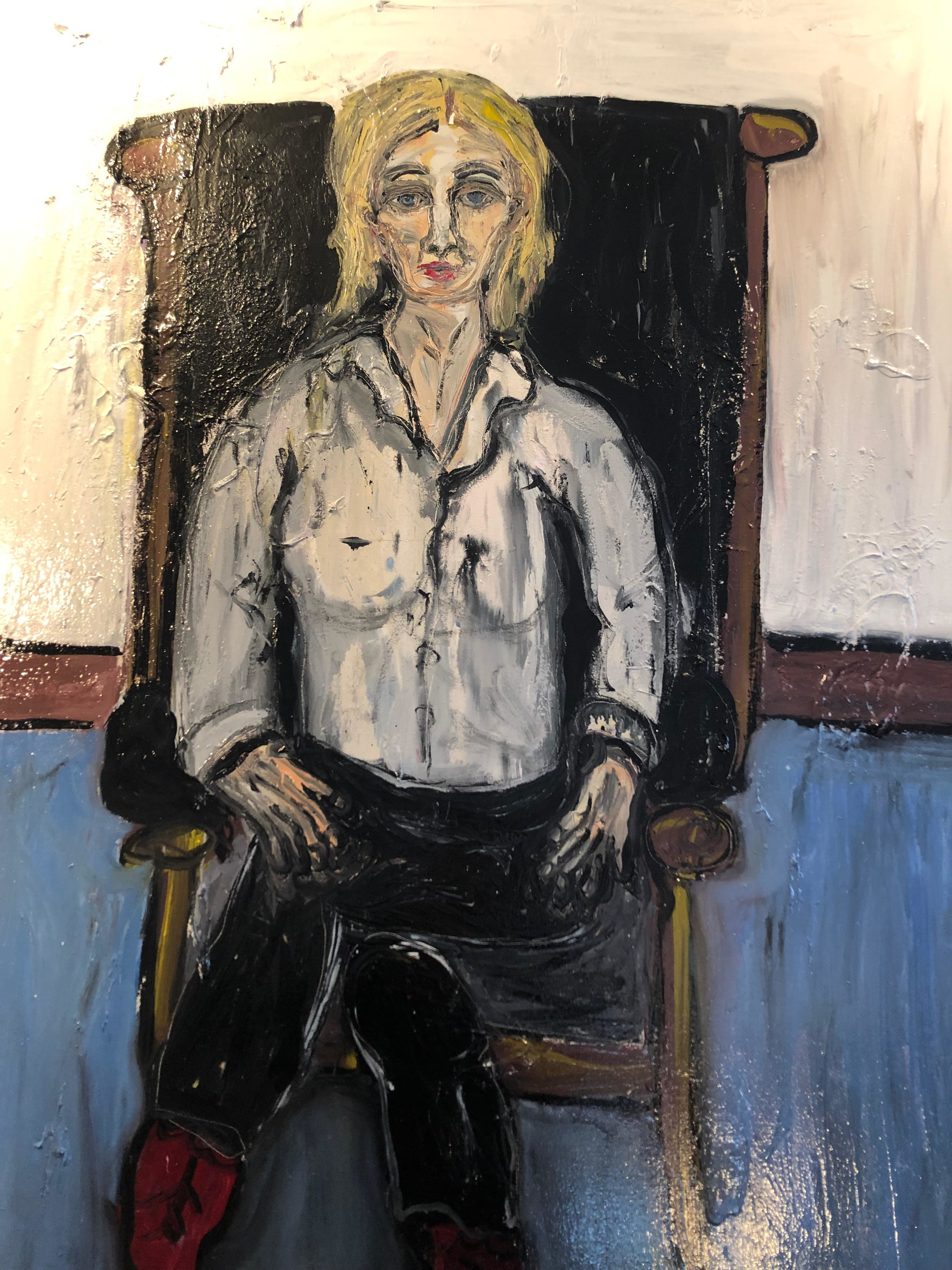 """Merrill house Co-chair ruth Saunders Sitting in My Leather Chair - oil on canvas60"""" 48""""2018"""