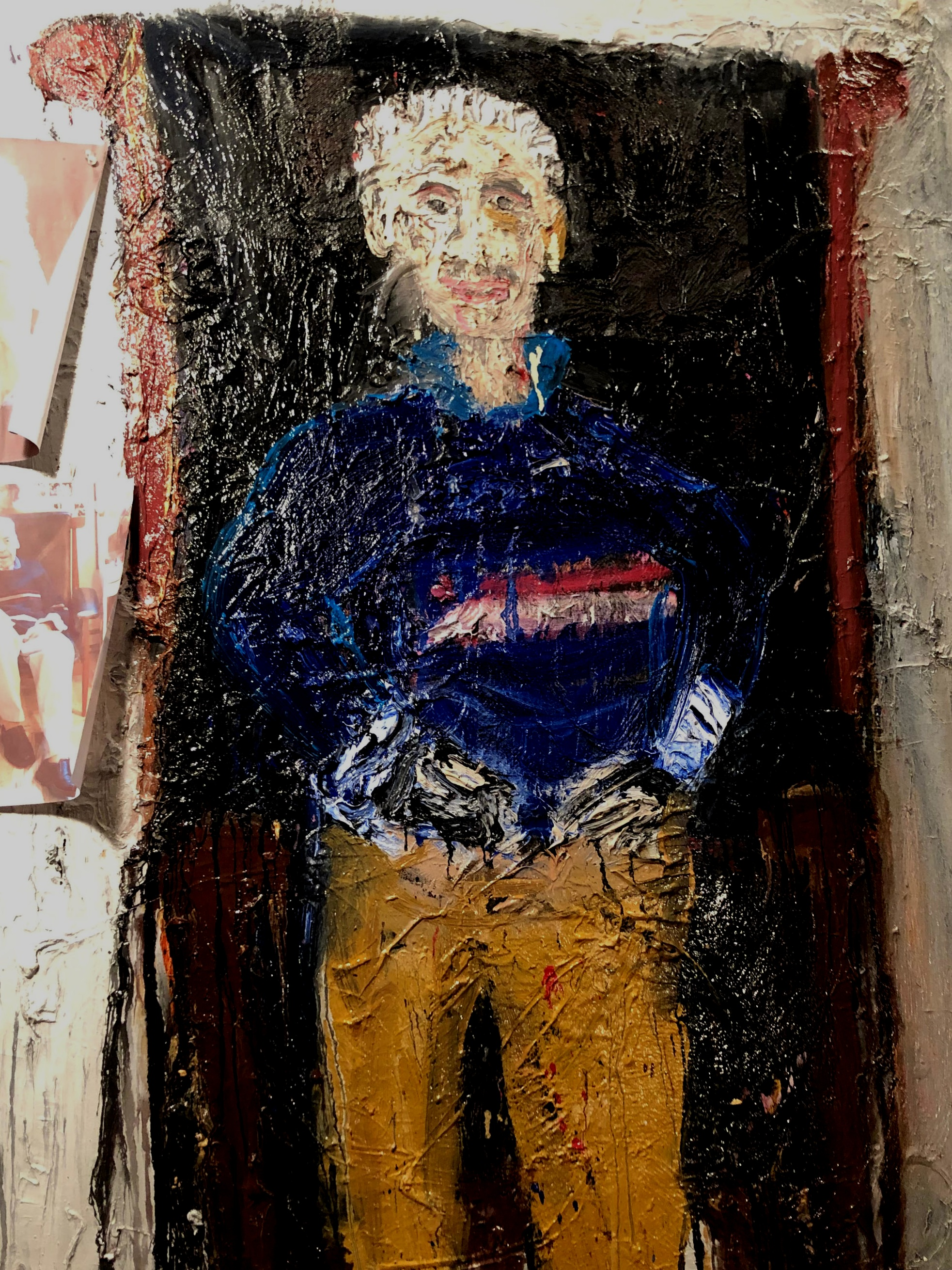 """Hollycroft Founder, Bill Bendig, Sitting in My Leather Chair - oil on canvas60"""" x 48""""2018"""