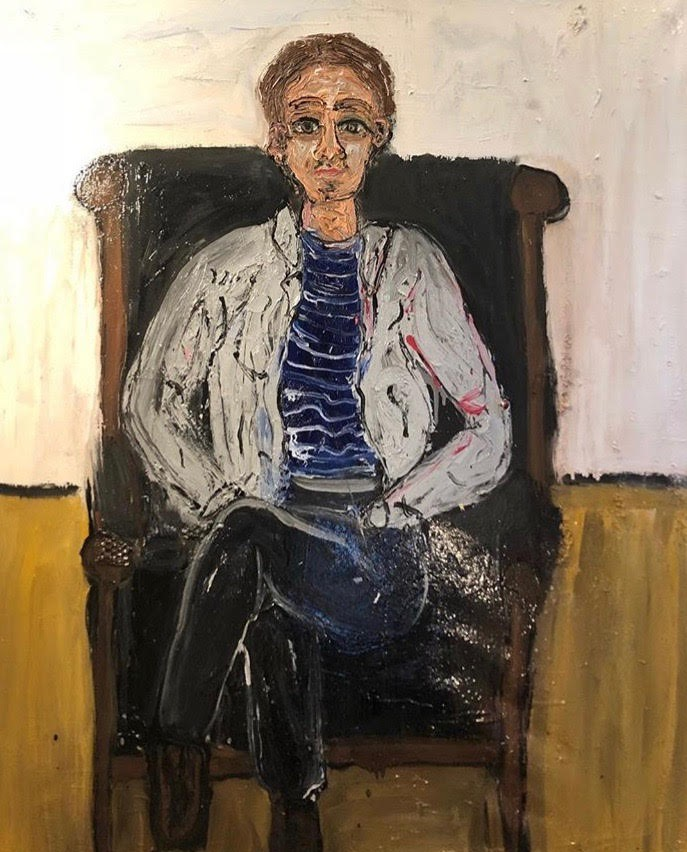 """Writer and Merrill House Fellow, Jordan Jacks, Sitting in My Leather Chair - oil on canvas60"""" x 48""""2018"""