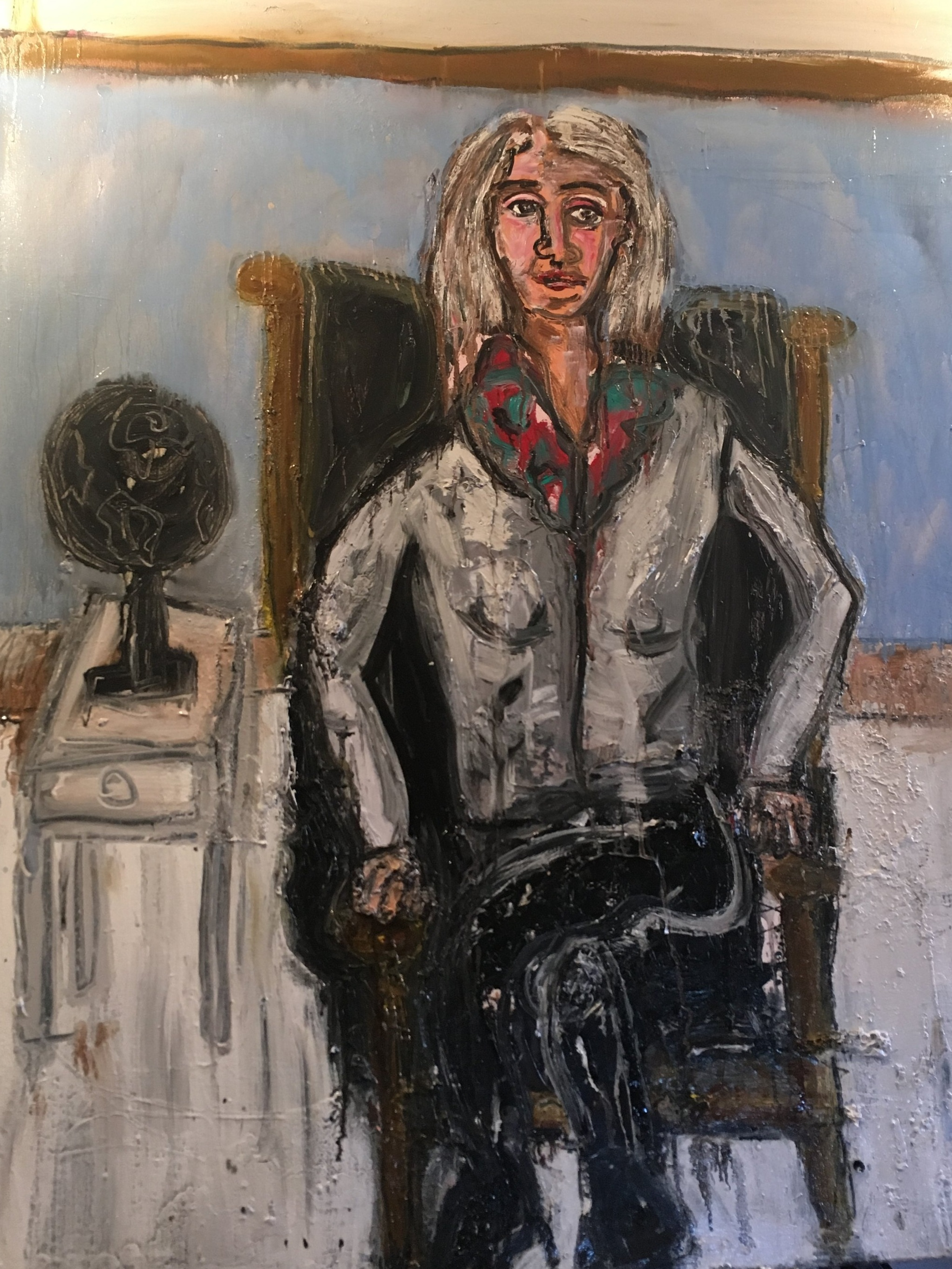 """Painter, Xanda McCagg, Sitting in My Leather Chair - Oil on canvas60"""" x 48""""2018"""