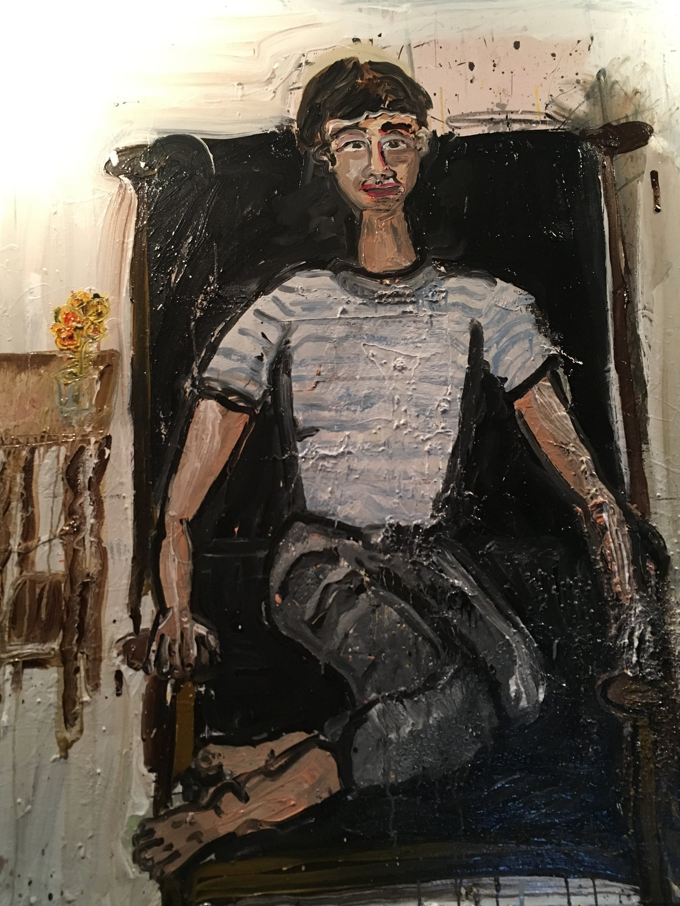 """Choreographer and Dancer, Isobel McBride, Sitting in My Leather Chair - Oil on canvas60"""" x 48""""2017"""