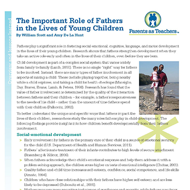 The Important Role of Fathers  in the Lives of Young Children  By William Scott and Amy De La Hunt