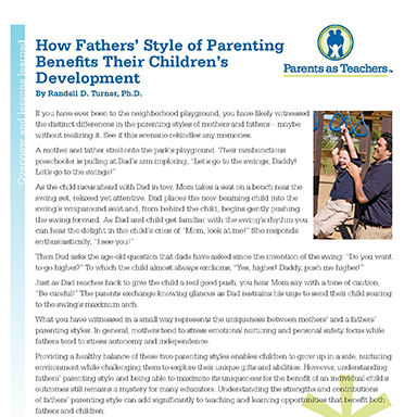 How Fathers' Style of Parenting Benefits Their Children's Development    By Randell D. Turner