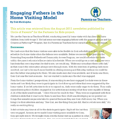 Engaging Fathers  in the Home Visiting Model   By Deb Meiklejohn