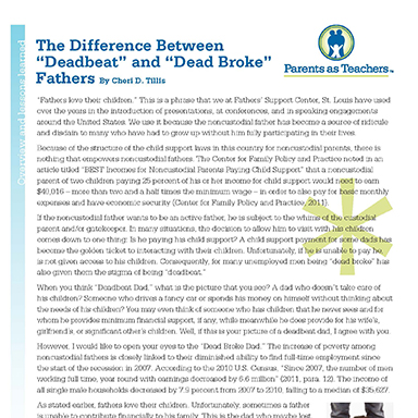 "The Difference Between ""Deadbeat"" and ""Dead-Broke"" Fathers    By Cherri D. Tillis"