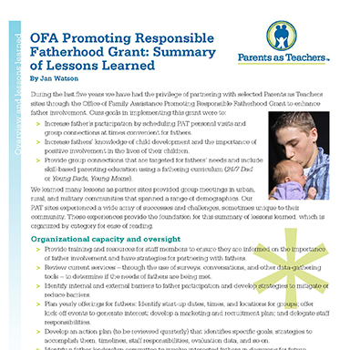 OFA Promoting Responsible Fatherhood Grant   : A Summary of Lessons Learned By Jan Watson