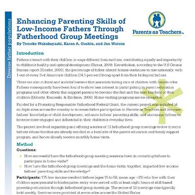 Enhancing Parenting Skills of Low-Income Fathers  Through Fatherhood Group Meetings   By Tomoko Wakabayashi, Karen Guskin, and Jan Watson