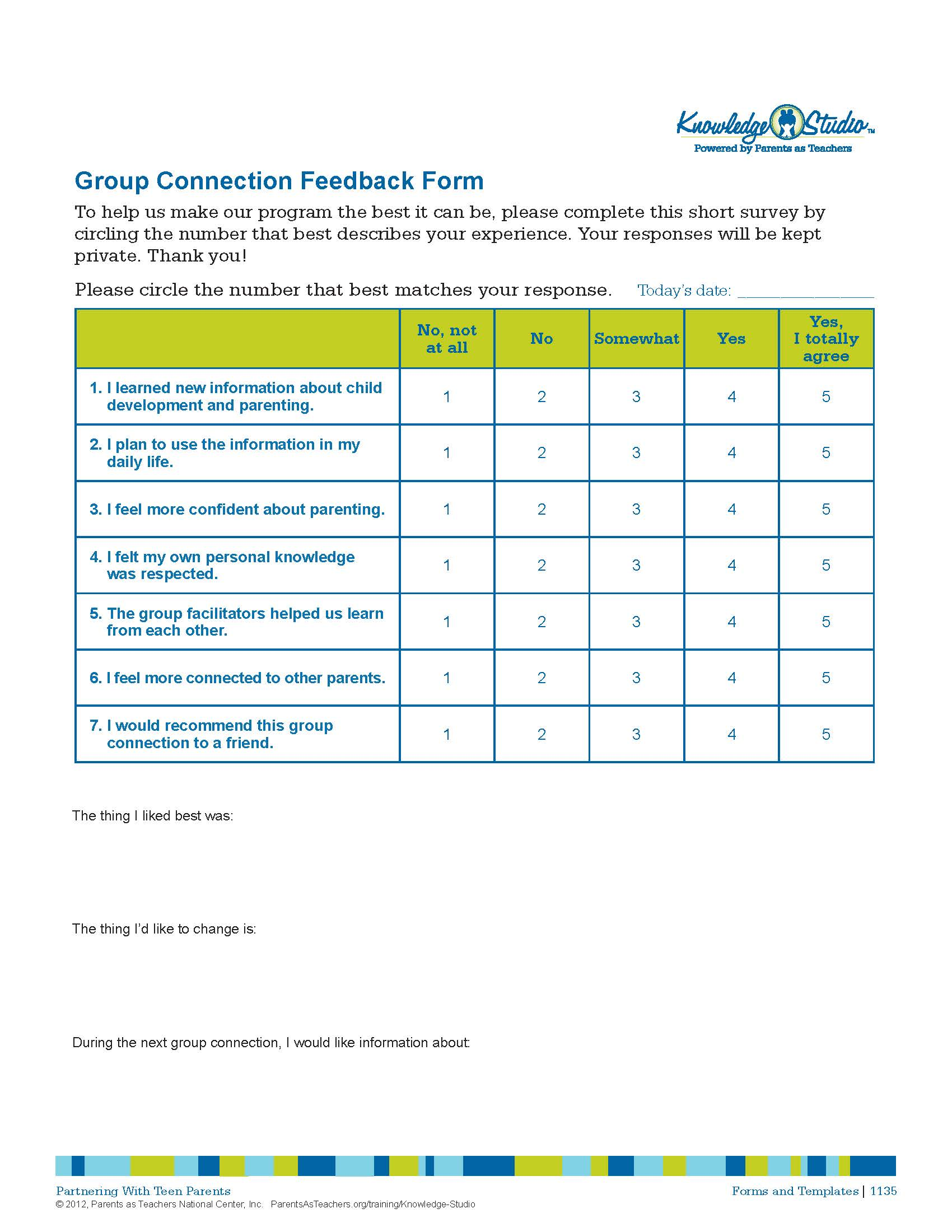 Group Connection Feedback Form