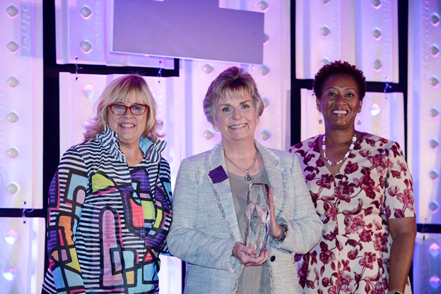 Arizona State Sen. Kate Brophy-McGee (center) accepts the Jack Tweedie Human Services and Early Learning Award from Patricia Kempthorne, (left) board chair of Parents as Teachers National Center; and Constance Gully, PAT President, and CEO, during the annual international conference at the Arizona Grand Resort & Spa.  Photos by Harley Bonham.