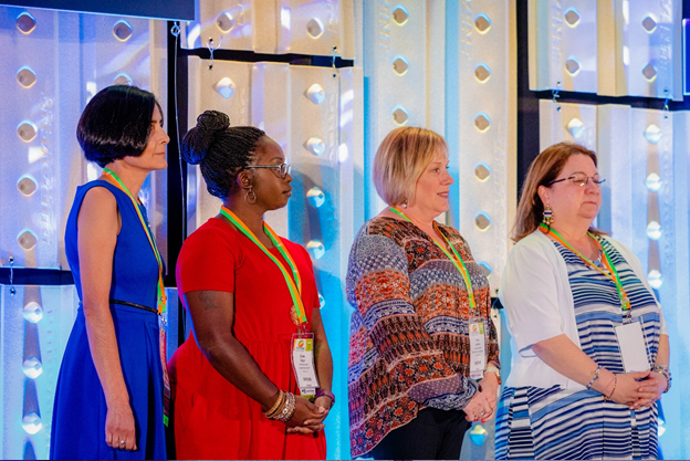 Representatives from the Parenting Center of Lexington One, Lexington, SC, received the Losos Award for Innovation during the 2018 International Conference at the Arizona Grand Resort & Spa. Photo by Harley Bonham.