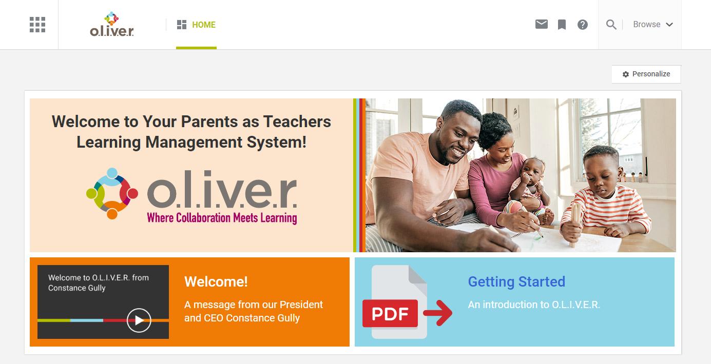O.L.I.V.E.R. Learning Platform Home Page Image
