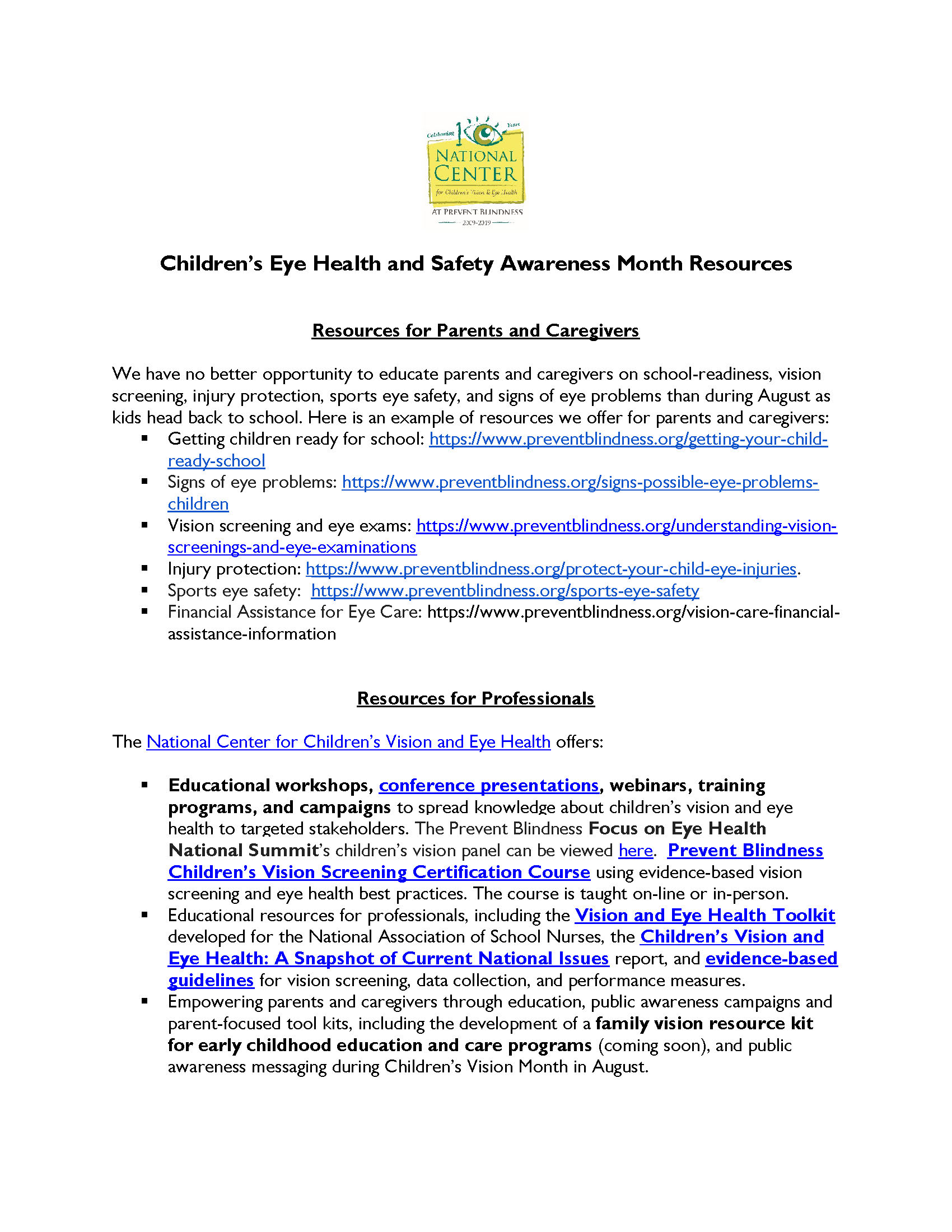 Click image above to download Vision Resources for Parents and Caregivers