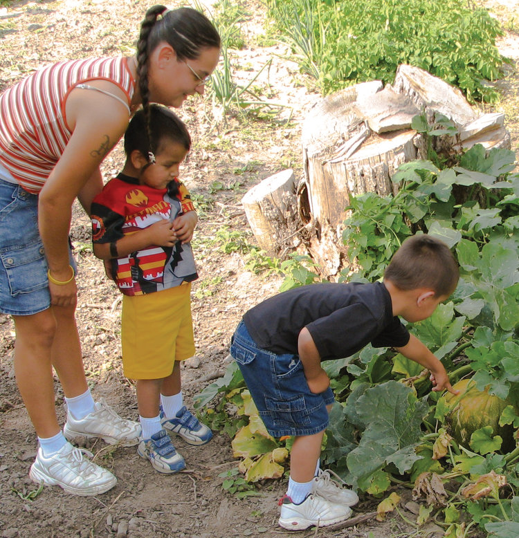 Children exploring a vegetable garden