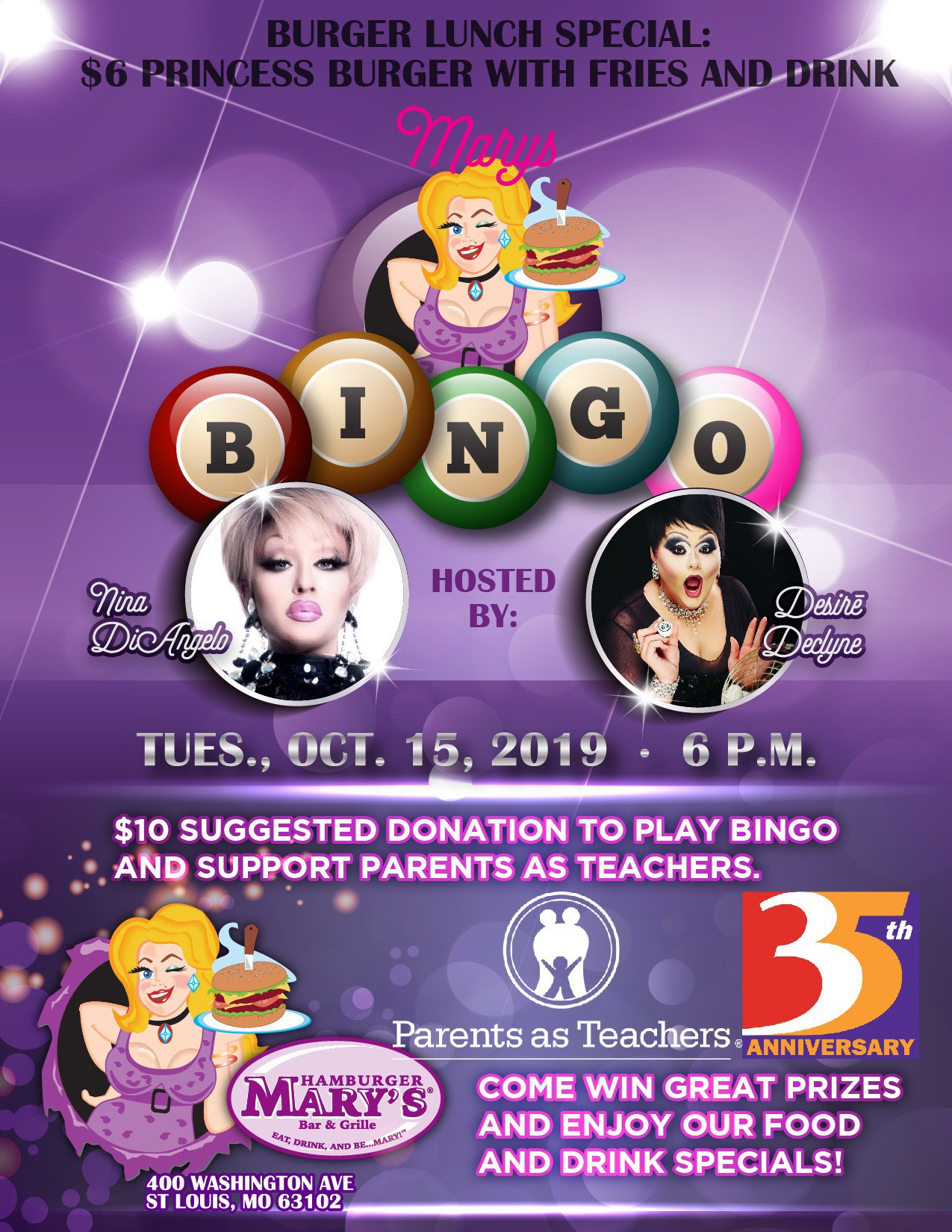 Hamburger Mary's Bingo, Tuesday, October 15, 2019 at 6 p.m. $10 suggested donation to play bingo and support Parents as Teachers.