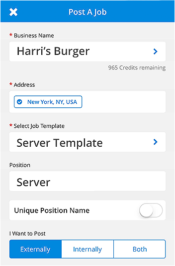One-TouchMobile Job Posting - Save time by posting jobs directly from predefined custom templates, and repurpose your frequently used job descriptions for future openings.This is part of our Harri Hire mobile app features and improvements for both iOS and Android.