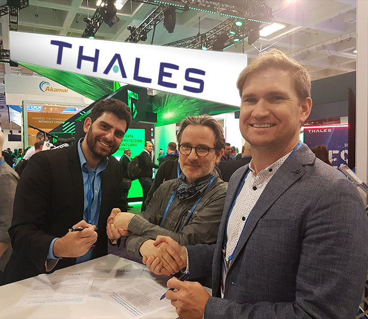 From left to right: Jonathan Rouach- CEO, QEDit; Jean-Yves Plu- VP, Thales; Jordan Brandt- CEO, Inpher