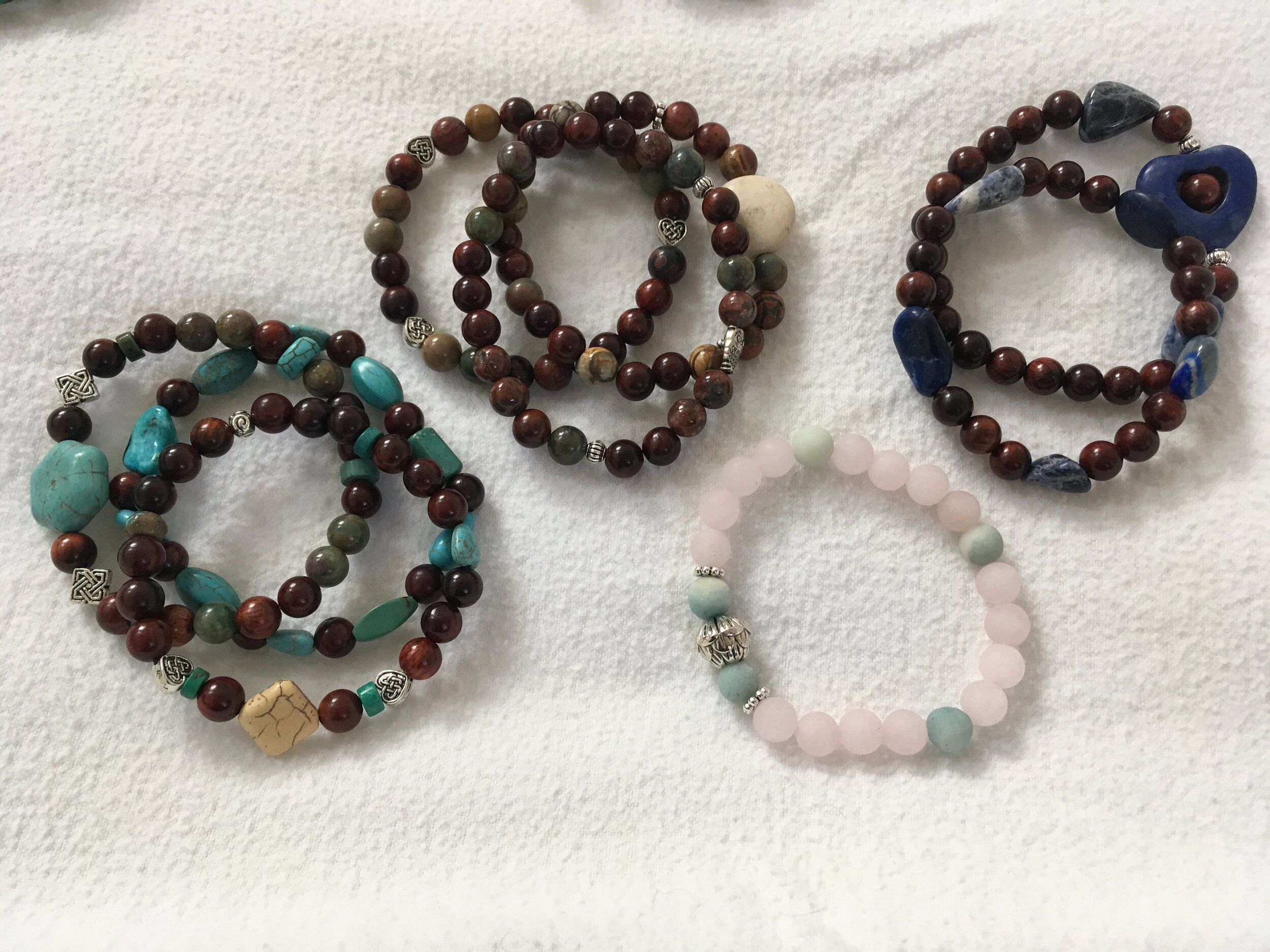 Amazonite, rose quartz, rosewood, turquoise, red sesame jasper, picasso jasper and more
