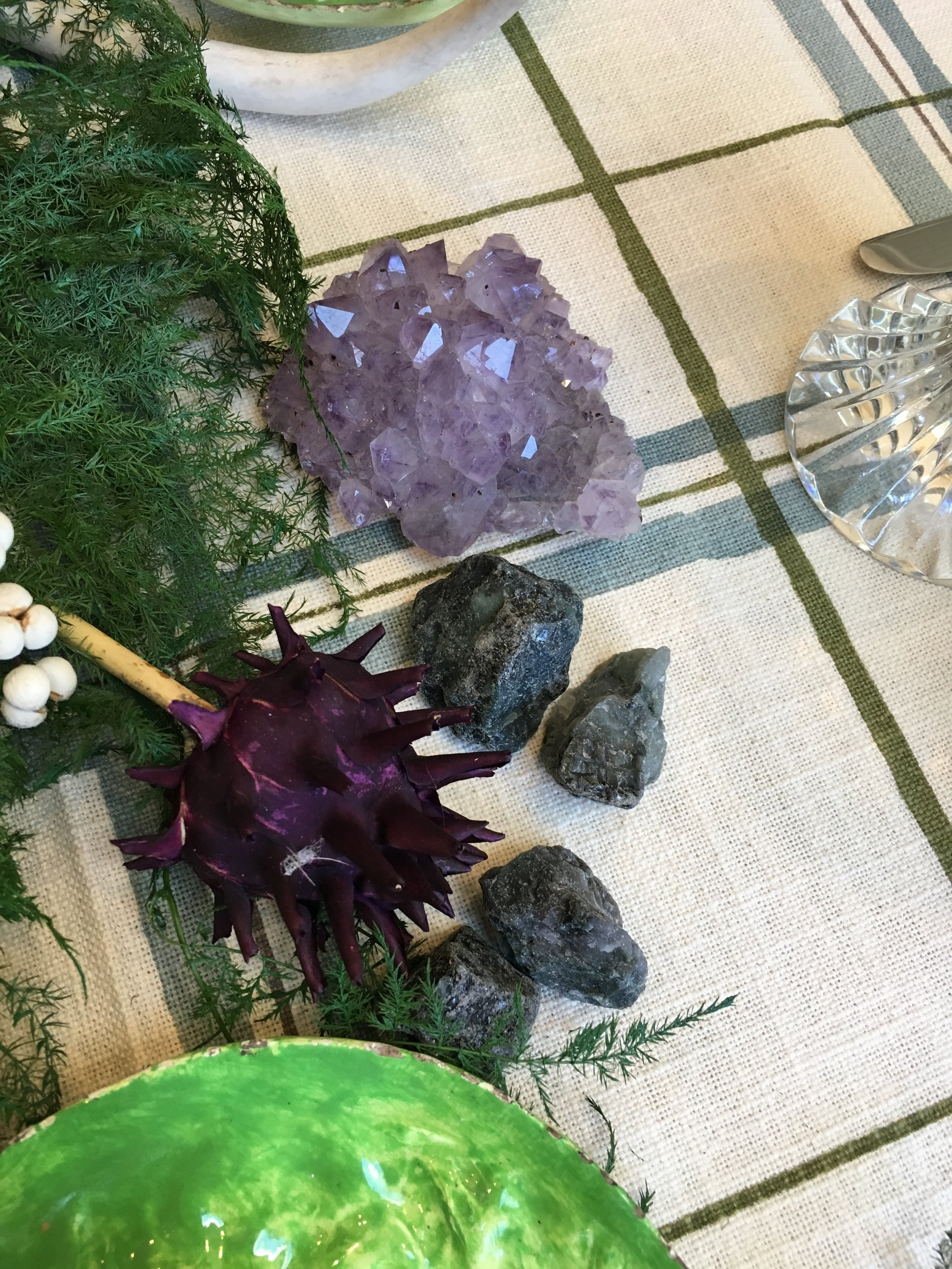 Raw Amethyst and raw emeralds keep things organic but in a glam way.