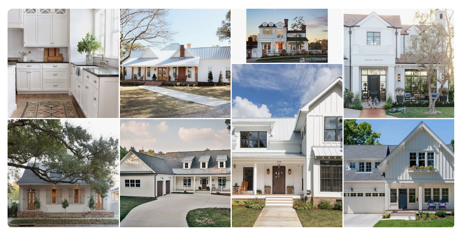 Then a complete departure to simple Modern Farmhouse exteriors.  I have been on the hunt for a flip house for sometime....and this is my plan for the exterior when I find one.  I love the casual farmhouse feel, yet there is still a formality to the homes as well.  Fingers crossed 2018 I will find one to transform!  Would love to see what is inspiring you all on Pinterest, please share on my Facebook page.