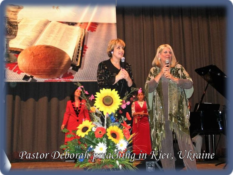 Pastor Deborah preaching in Kiev Ukraine.JPG