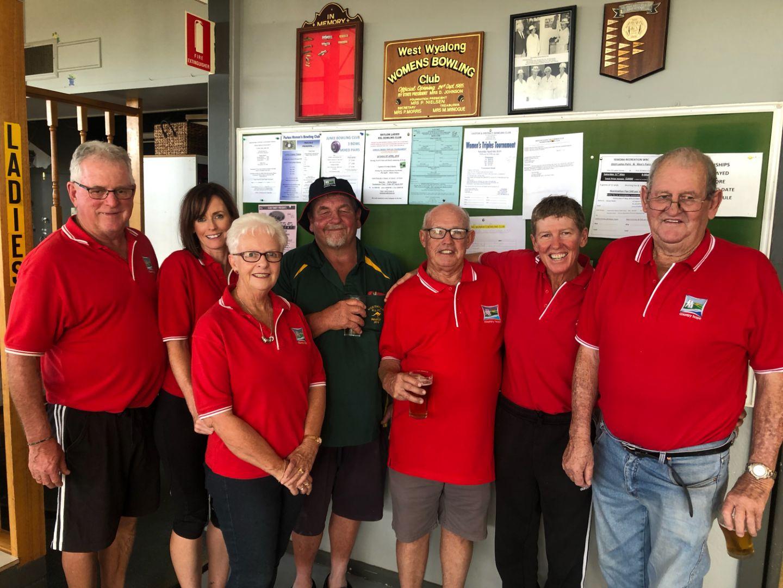 Pictured from left to right - Tony Glasgow, Jo Price, Bernie Pettit, Brower, Noel Pettit, Donna Jones, Bruce Mathews