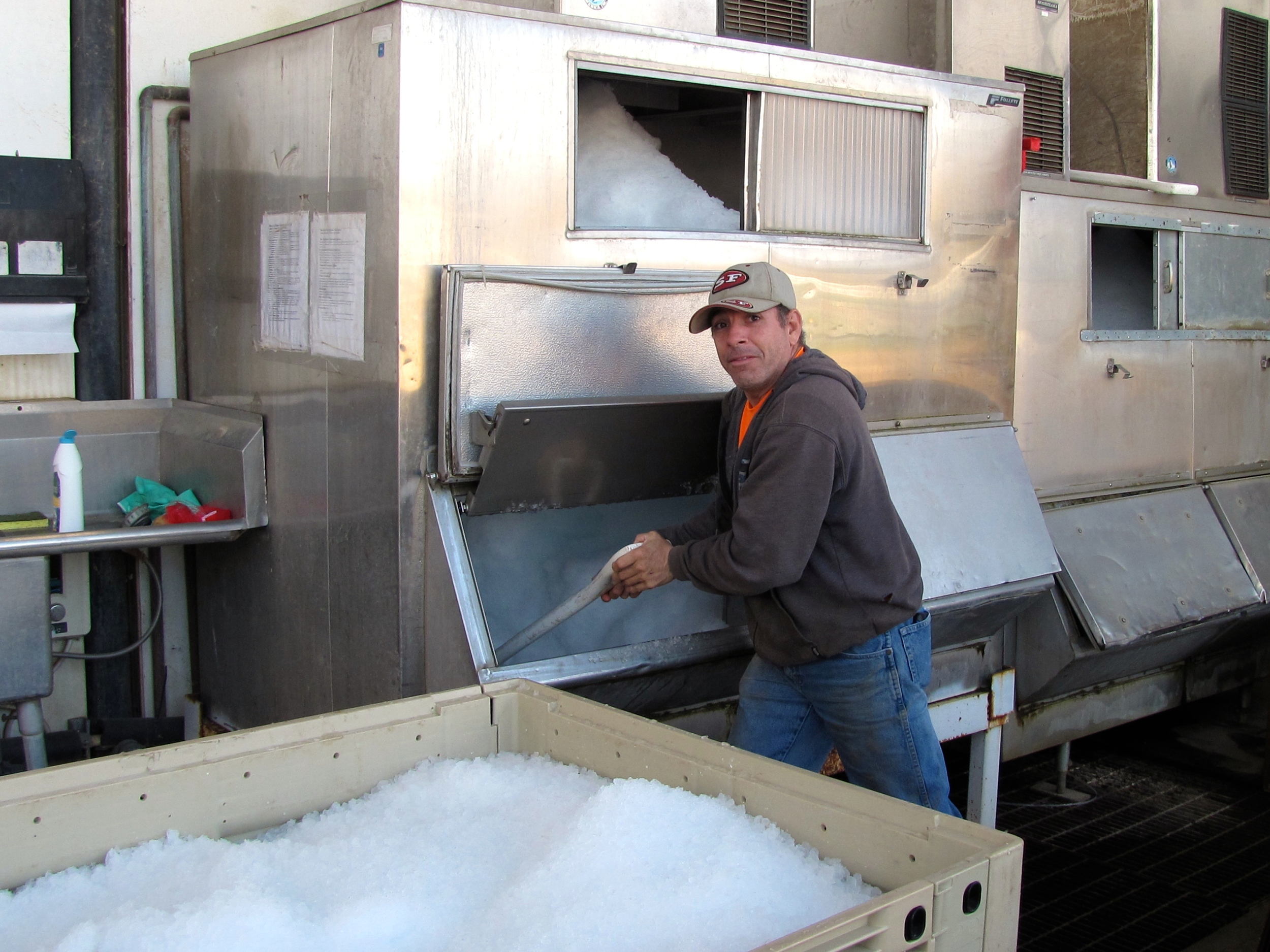 Gera preparing ice to be packed with a vegetable order
