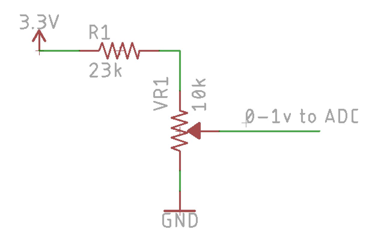 A voltage divider limits the pot's center tap output to 1v.R1 = 3.3*VR1 - VR1 -