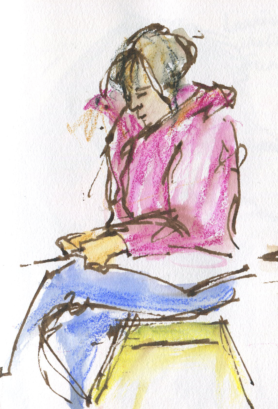 Fellow sketchers make perfect subjects because they are captive subjects and they don't mind being sketched.