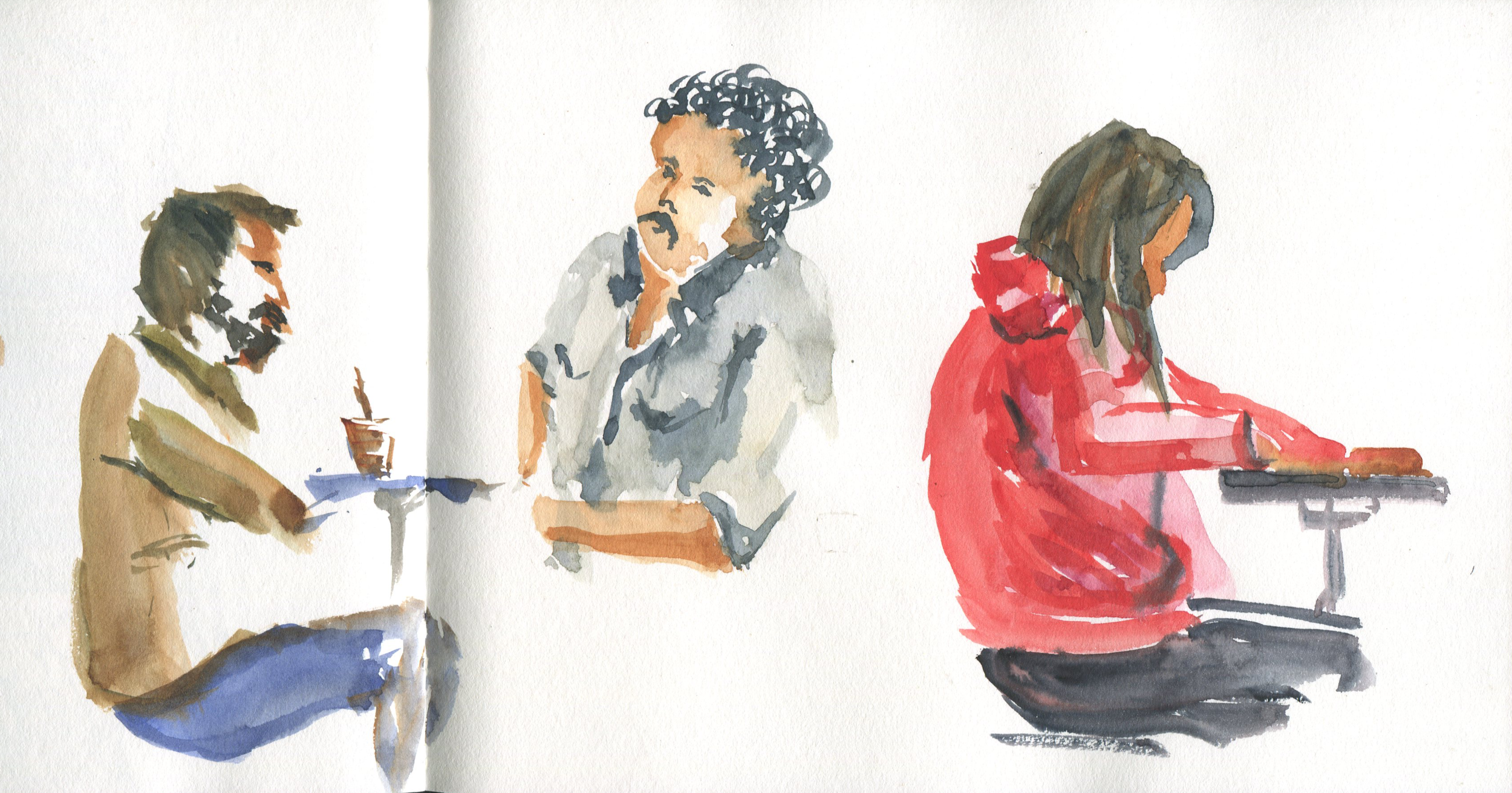 Watercolor people sketches at starbucks