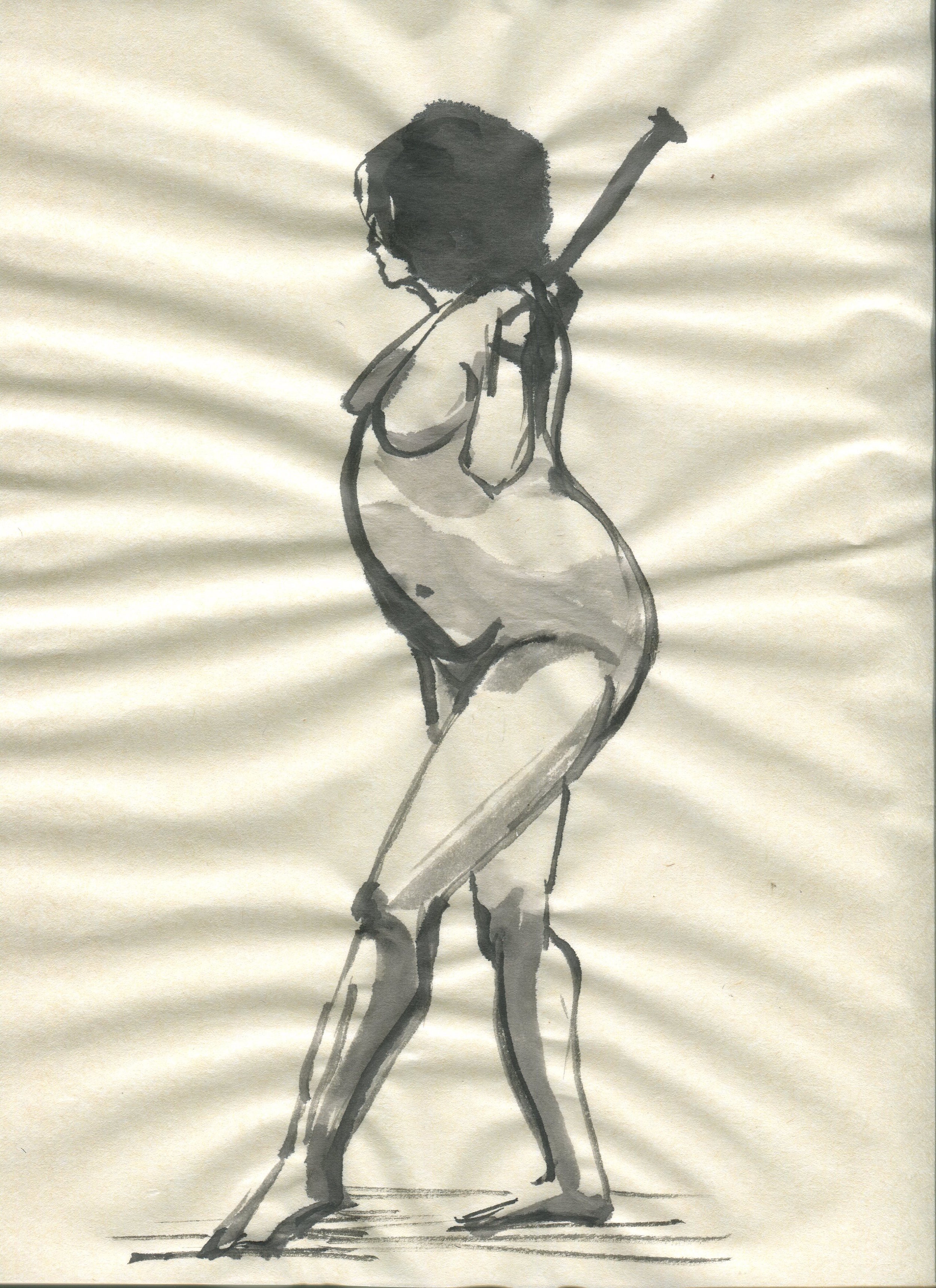 brush and ink life drawing on rice paper