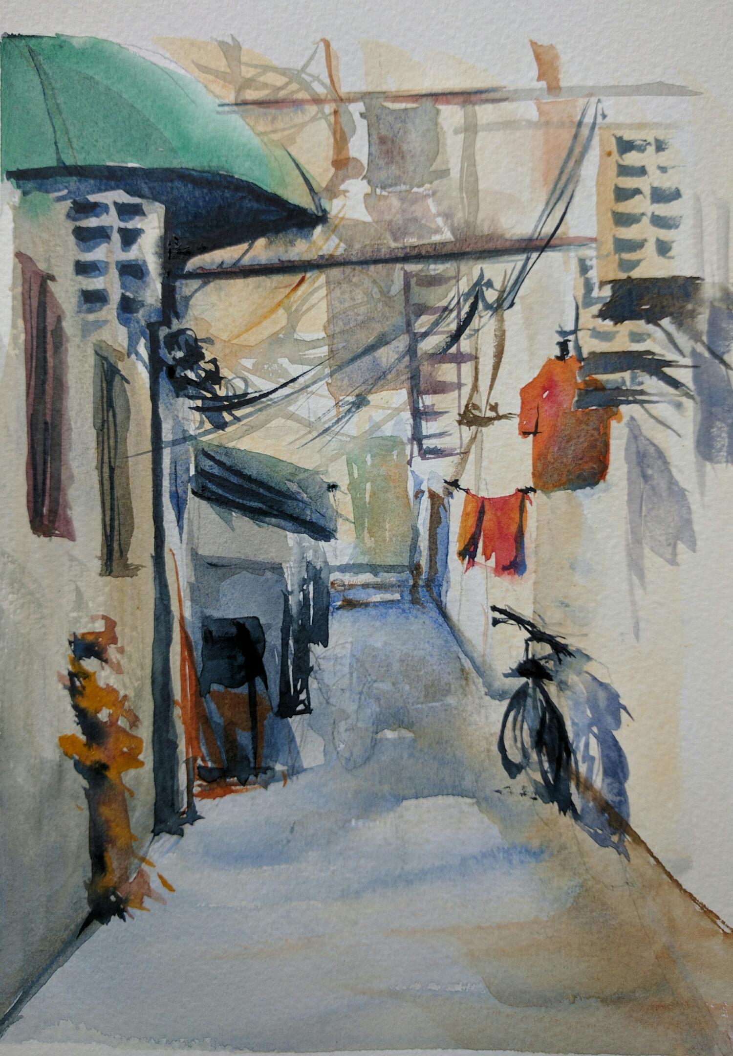 alleyway in watercolor