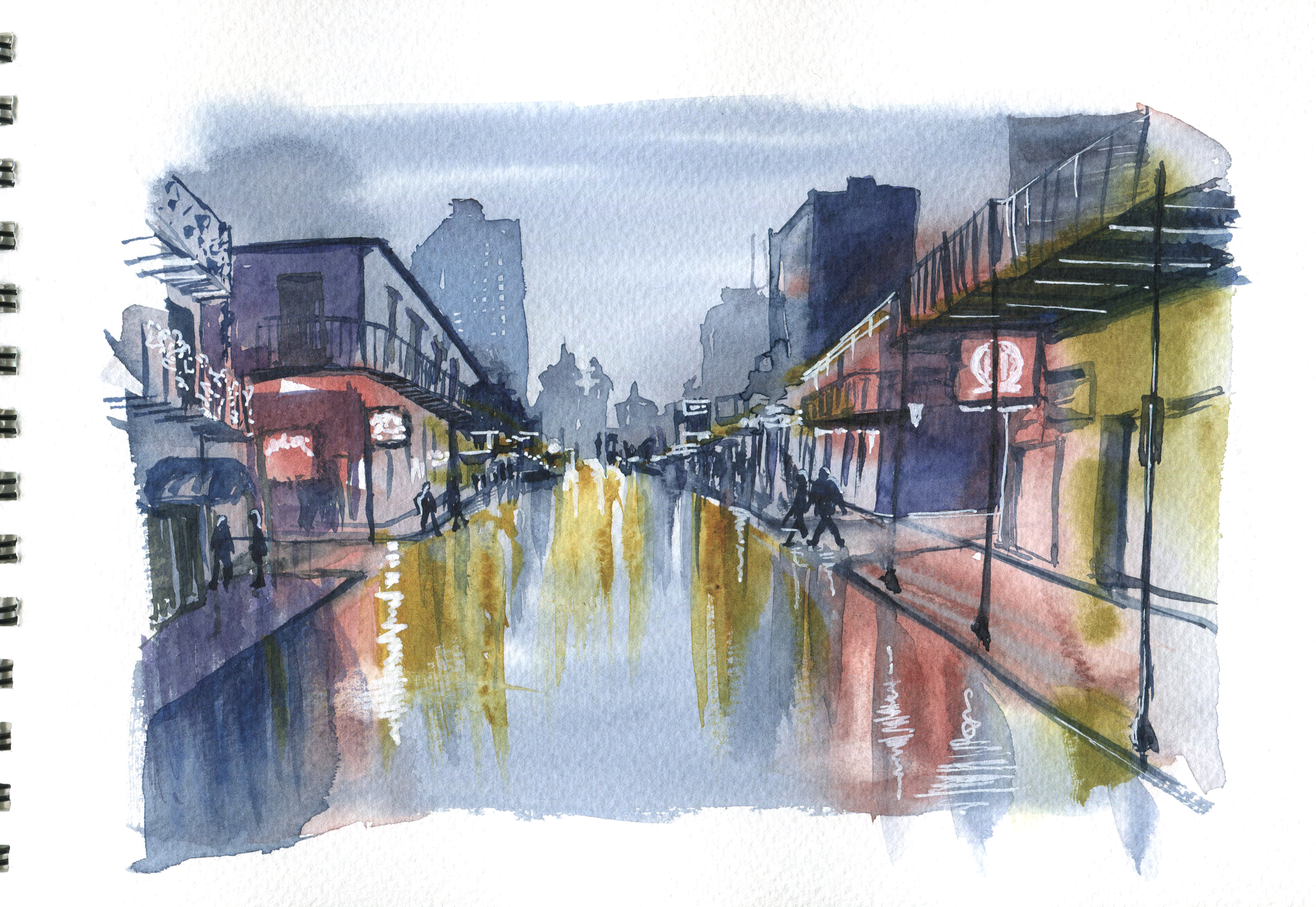 rainy night in watercolor