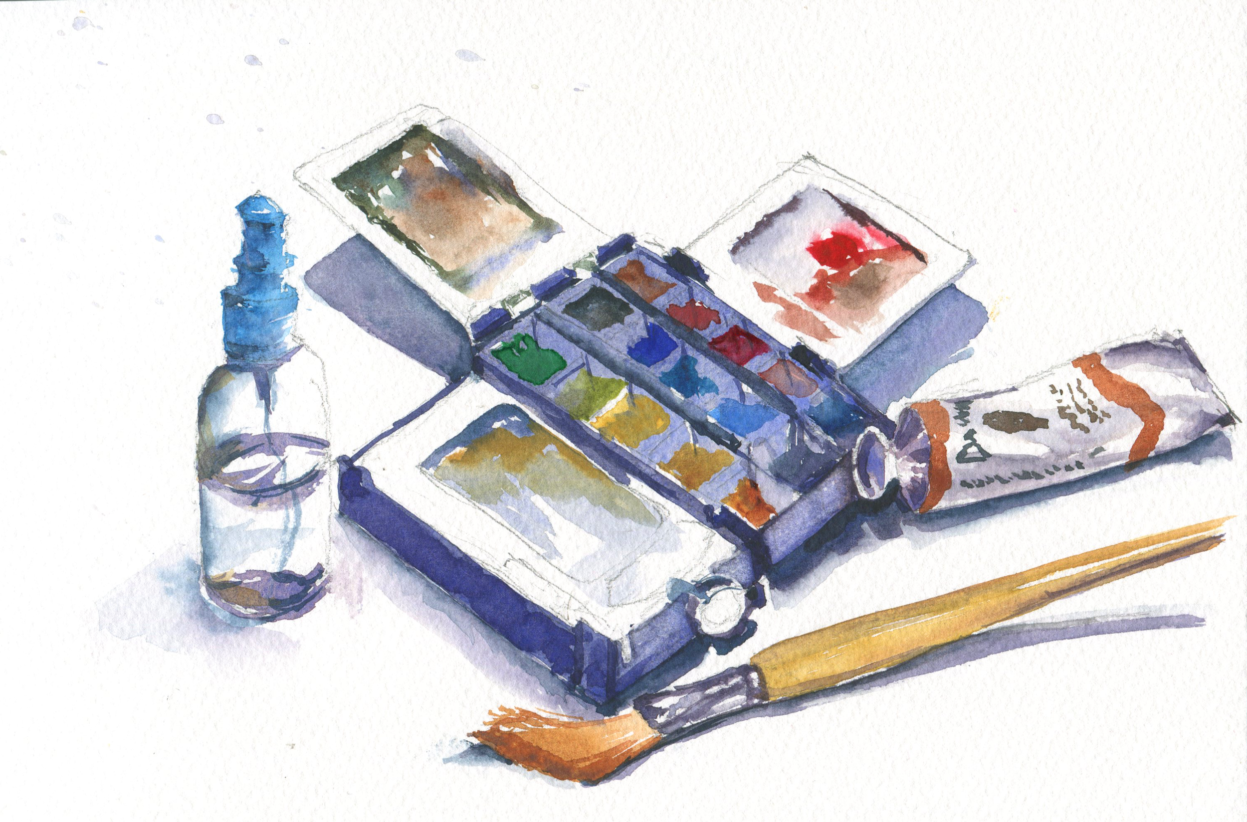 watercolor palette and brush still life in watercolor