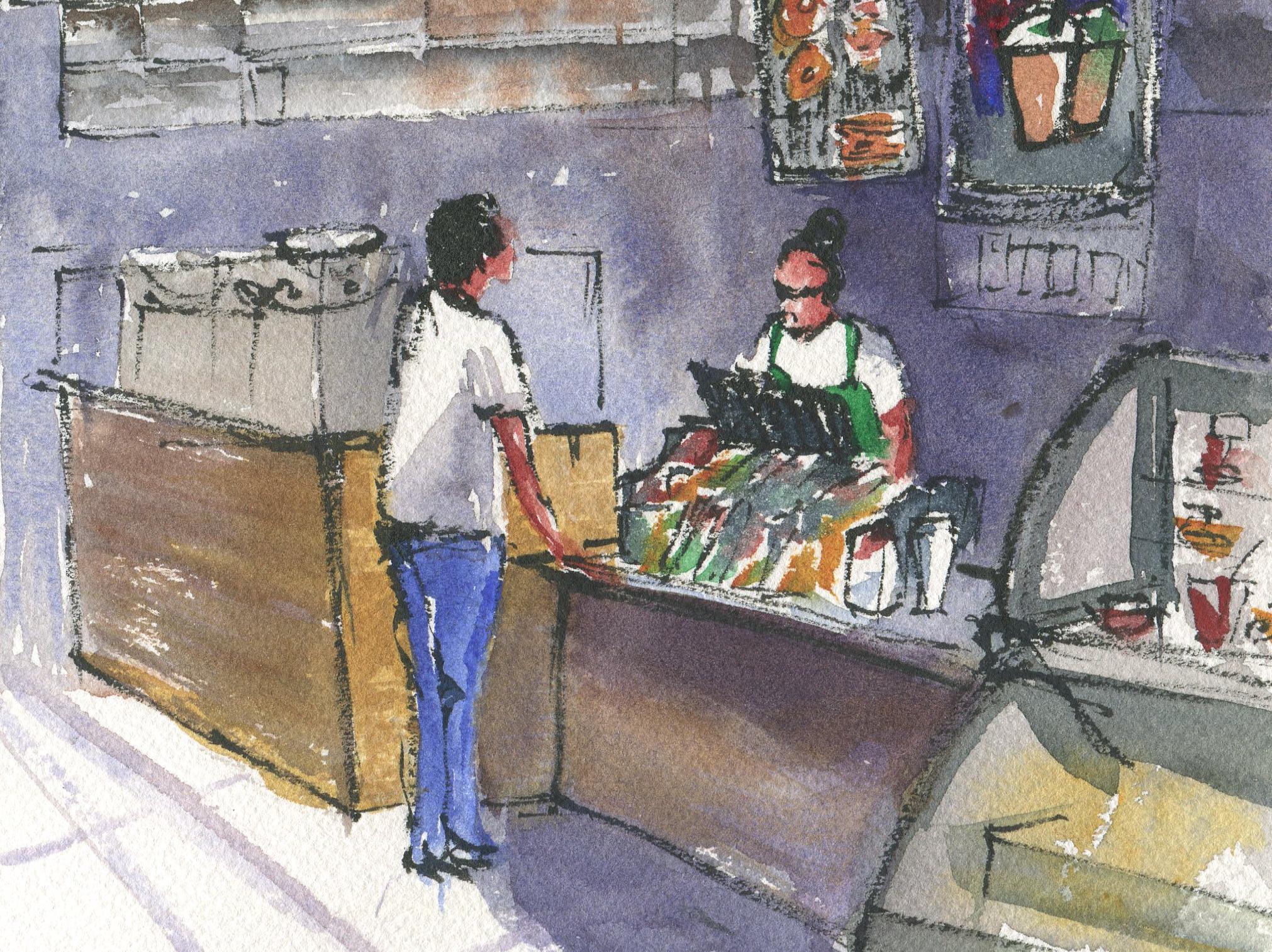 starbucks urbans ketching in watercolor