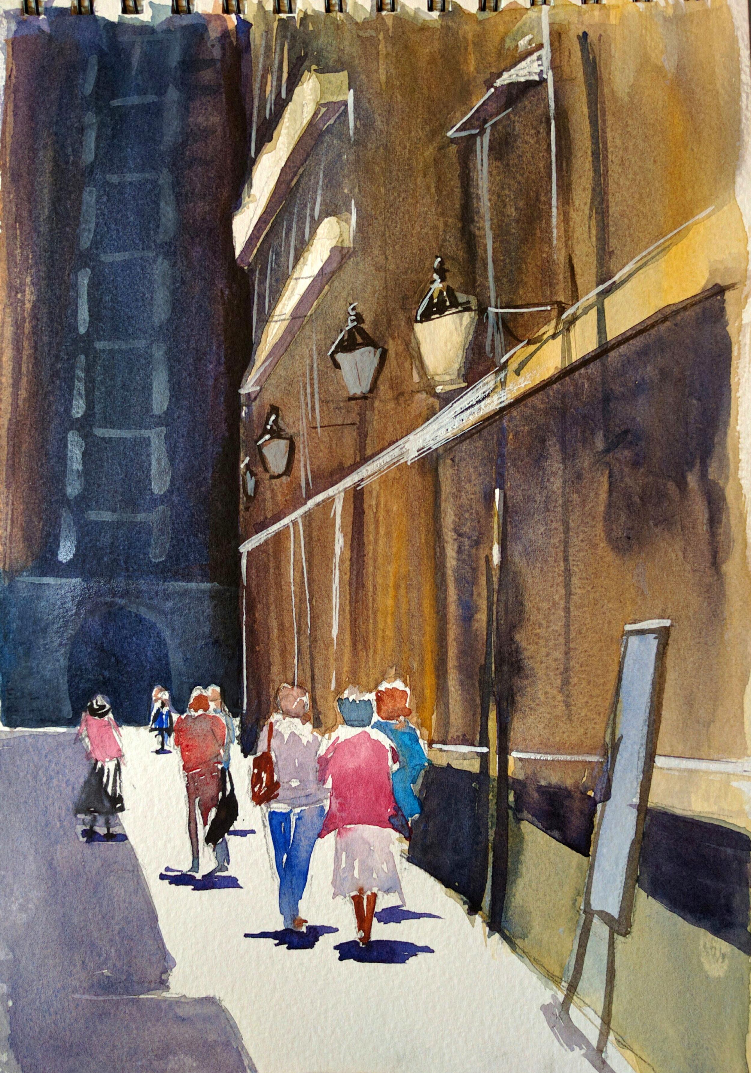 sunlit street in watercolor