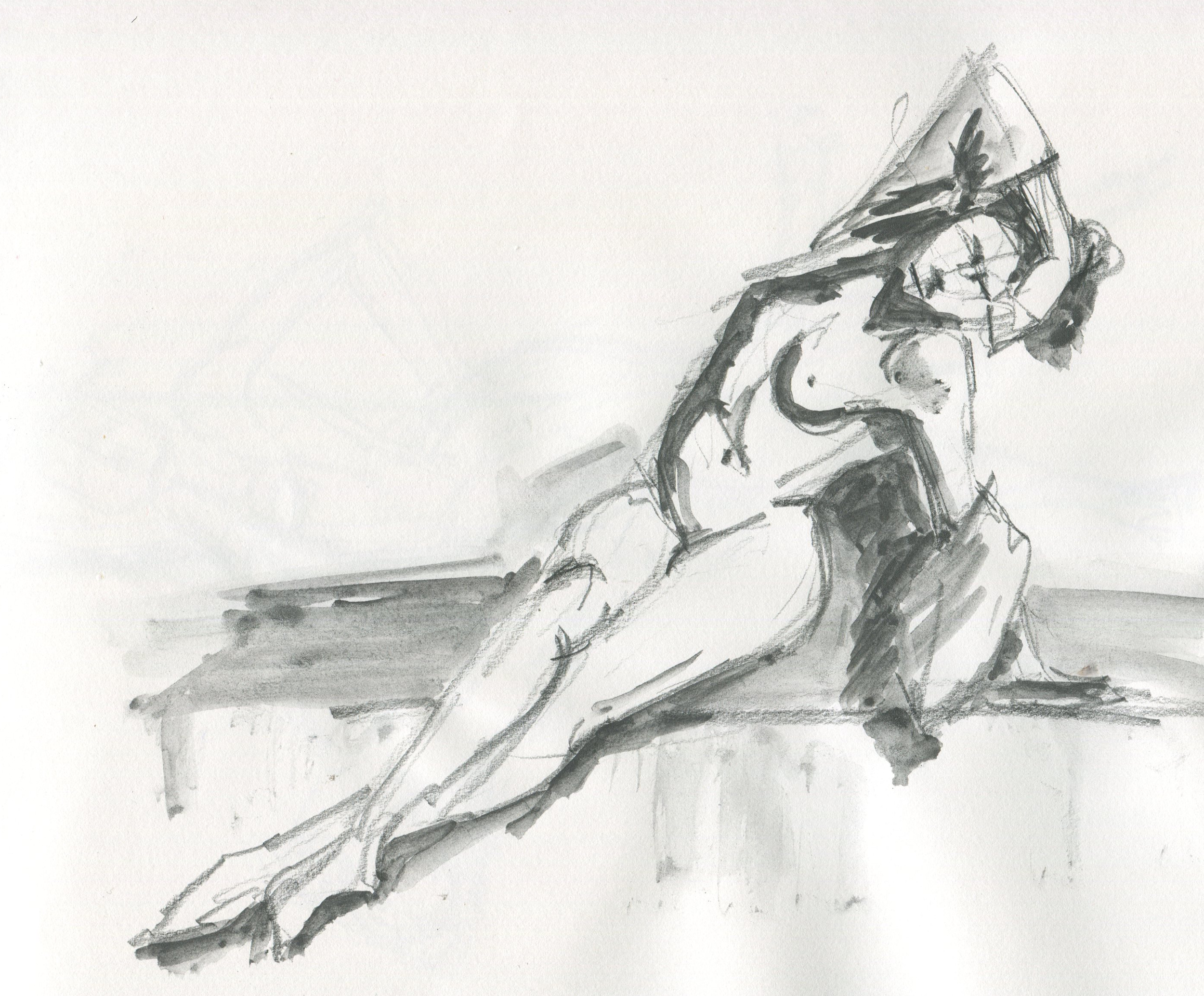 figure drawing in art graf watercolor graphice