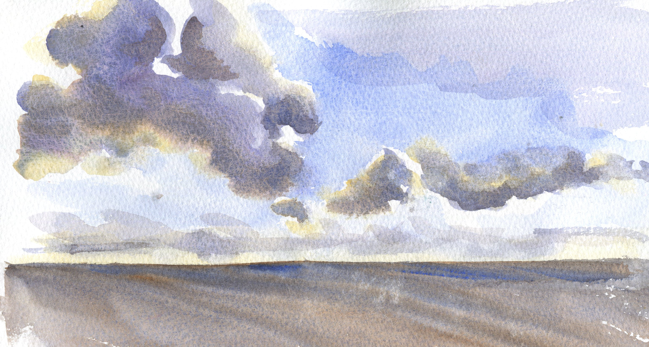 clouds in watercolor