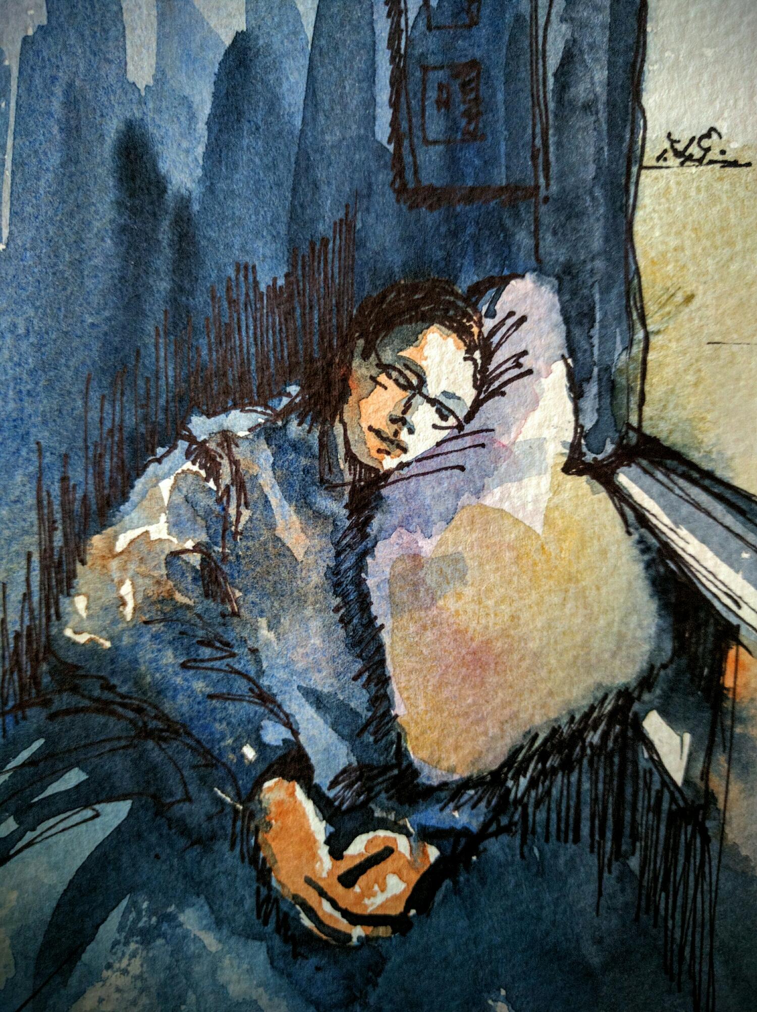 train nap in watercolor