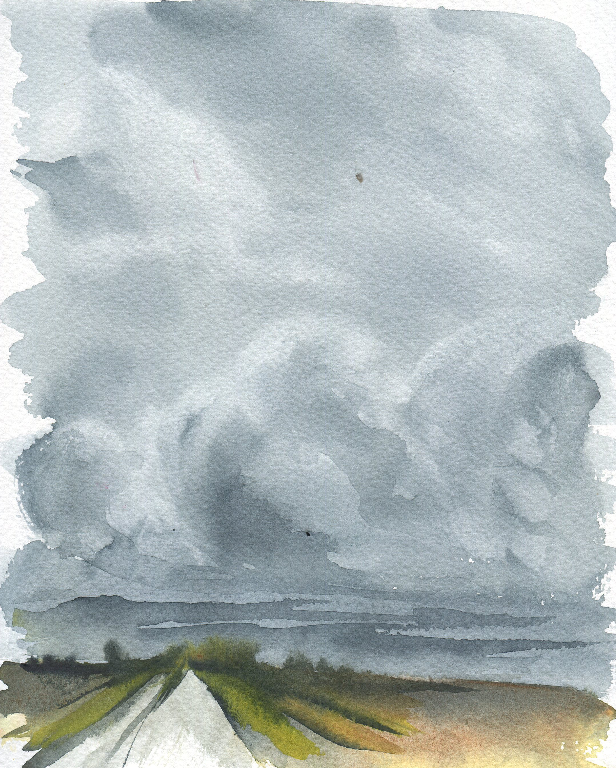 stormy sky in watercolor