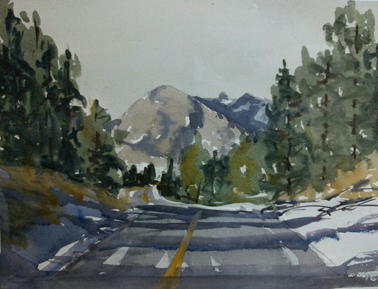 sierras in watercolor