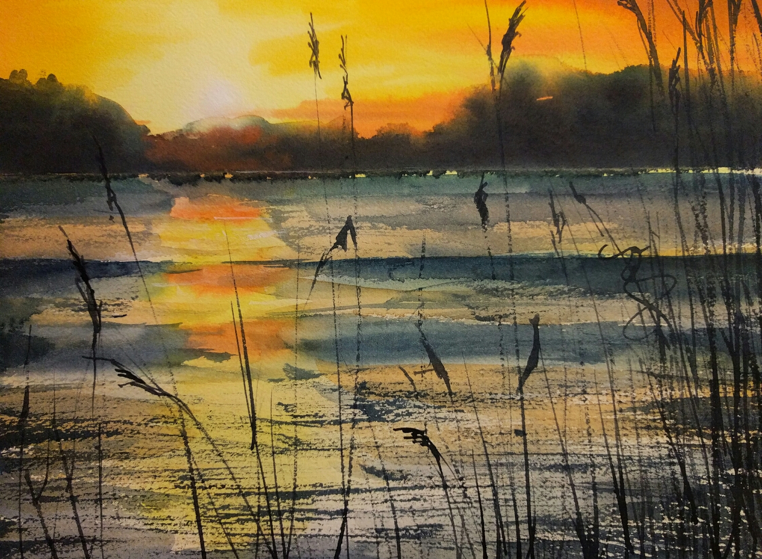 sunset in watercolor