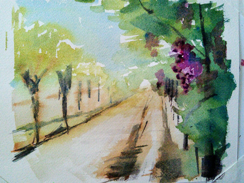 vineyard in watercolor