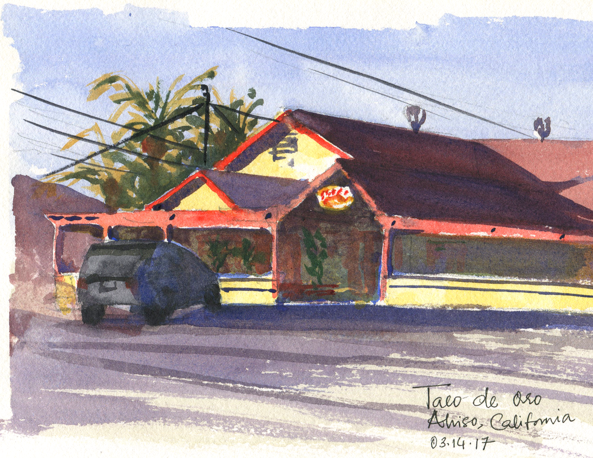 Taco de oro in watercolor